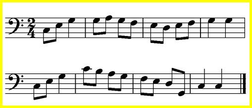 мелодия для тренировки чтения нот в басовом ключе