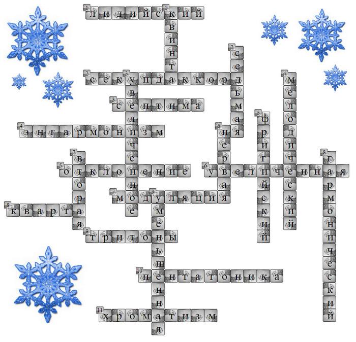 зимний кроссворд по теории музыки и сольфеджио