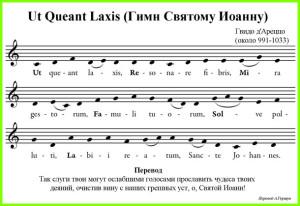 средневековый гимн, от которого произошли названия нот