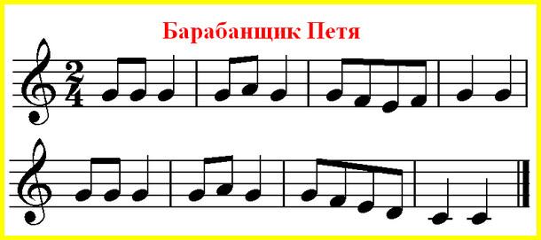 примеры для чтения нот