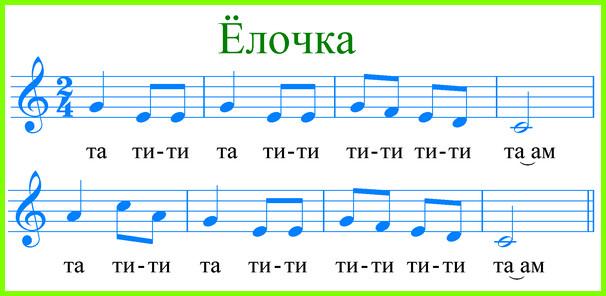 "ноты песни ""Елочка"""