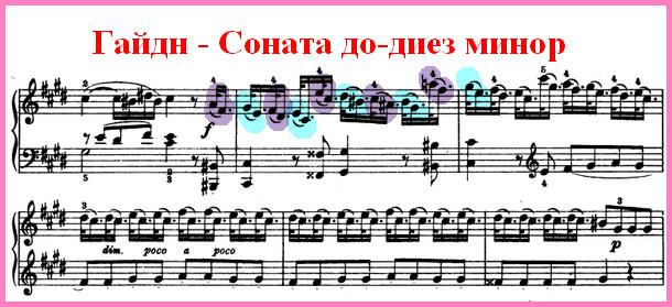 Гайдн Соната до-диез минор - ломбардский ритм, ноты