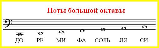 ноты большой октавы в басовом ключе