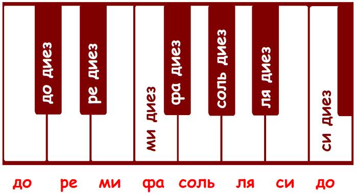 диезы на клавиатуре фортепиано