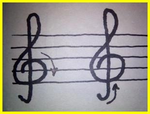 два способа рисования скрипичного ключа