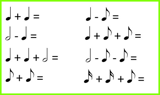 музыкально-математические примеры с длительностями нот