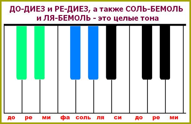 целые тона на черных клавишах фортепиано