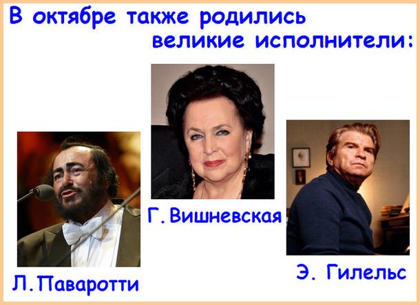 Музыканты - октябрьские именинники: Паваротти, Гилельс, Вишневская