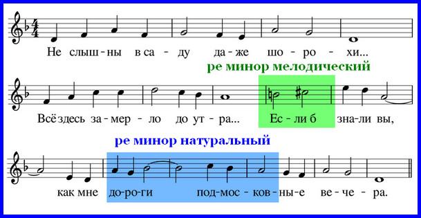 """мелодический минор в песне """"Подмосковные вечера"""""""