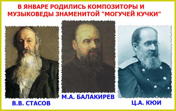 композиторы Могучей кучки, которые родились в январе